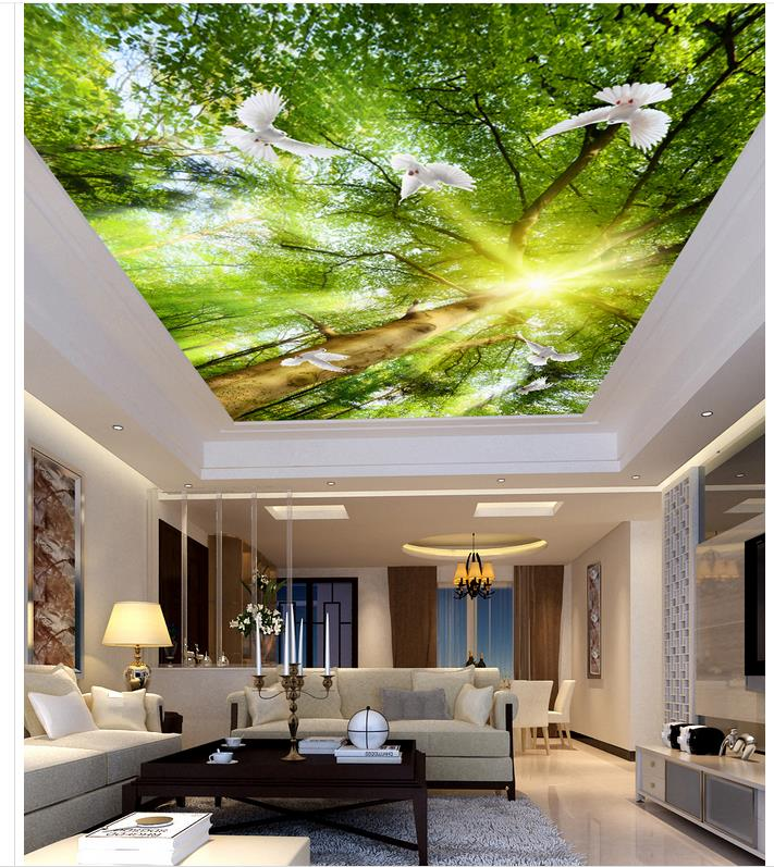 3d Mural Paintings Tree Sunshine Pigeons Wall Murals Nature Ceiling Home  Decoration 3d Stereoscopic Wallpaper Ceiling