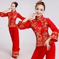Красный Китайская Традиция Одежда 2016 Новый Специальный Современный Танец Сценический Костюм Национальная Одежда Барабан Yangko Танец