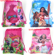 12pcs Kids Favors Baby Shower Trolls Non-Woven Fabric Backpack PJ Masks Drawstring Bags Birthday Party Moana Decoration Supplies