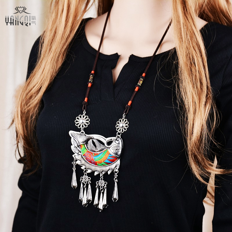 Tibetan Antique Silver Ethnic Necklaces Big Stitch Fish Pendant Necklaces Tassel Long Vintage Kolye for Femme Jewelry