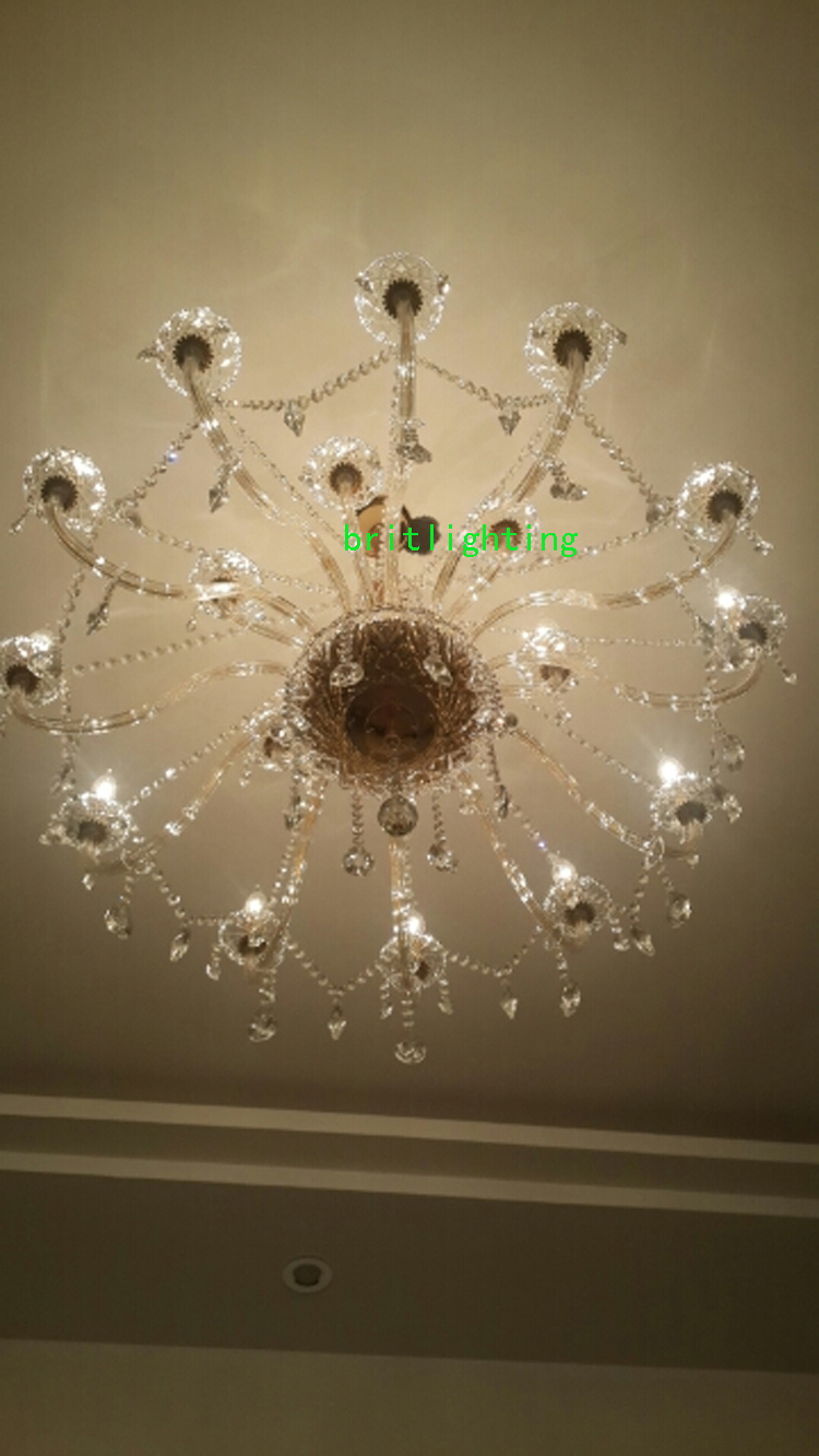 Chandelier Led For Staircase Lighting Brass Chain Modern Crystal Light Dining Room Double Layer In Chandeliers From Lights