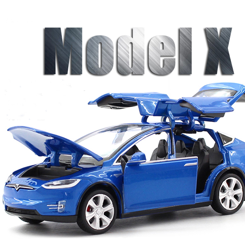Ny 1:32 J & CLIFE Tesla MODELX90 Alloy Diecast Car Model Træk - Legetøjsbiler