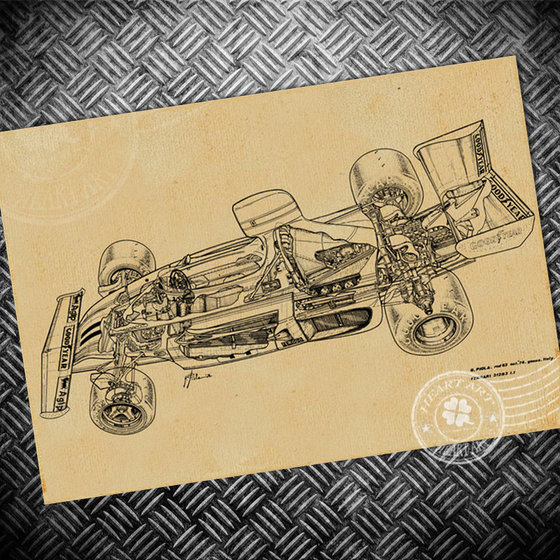 Free ship Vintage F1 Car poster Retro wall art painting sticker bar living room house decoration print picture 42x30cm
