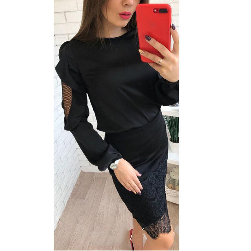 Manga Mujeres De Mujer Top Tops Señoras Oficina Camisa Malla Ws9853c rojo Negro Sexy Otoño O Camisas cuello Blusas Patchwork Elegante Larga frwIrq