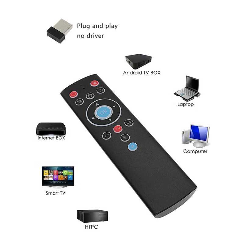T1 2.4Ghz Rf Mini Kablosuz Uzaktan Kumanda Hava Fare Akıllı Tv Iptv Set Top Box Pil Olmadan Siyah Silikon