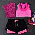 2017 3 peças conjunto t-shirt das mulheres de fitness yoga & bra & cortadas Calças Esporte wear Formação Terno Do Esporte Set Roupas de Ginástica rápida seca