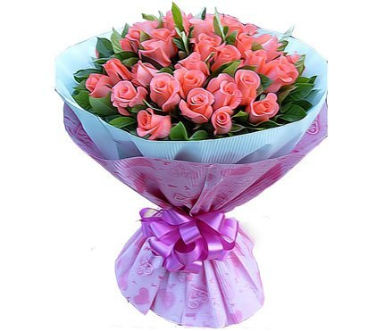 free shipping flowers delivery  39 pink roses, green leaves fresh flower Romance flowers wedding flowers