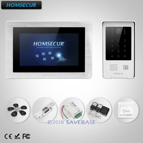 HOMSECUR 7 Wired Video&Audio Home Intercom Electric Strike Lock Set Included+Call Transfer+Motion Detection