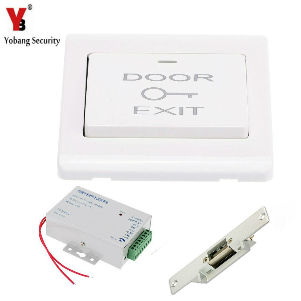 YobangSecurity Exit Door Switch DC12V Power Supply Electric Magnetic Door Lock For Home Door Entry Access