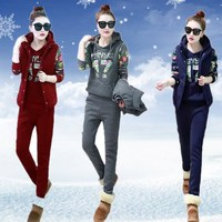 Women Suit Tracksuit Winter 3 Piece Set Hoodies + Vest + Pants Casual Suit Plus Velvet Sporting Women's Suits Female Costume