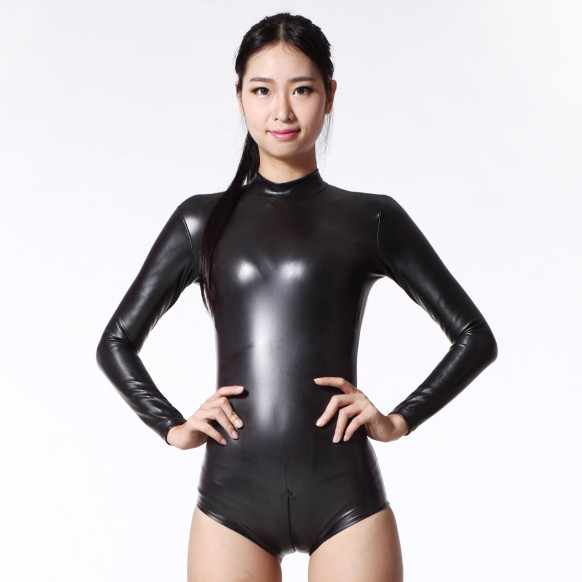 19561ea7e93 Detail Feedback Questions about Sexy Synthetic Latex Catsuit Lady Long  Sleeve Wetlook Bodysuits High Neck Thin Shinny Elastic Women Clubwear on ...
