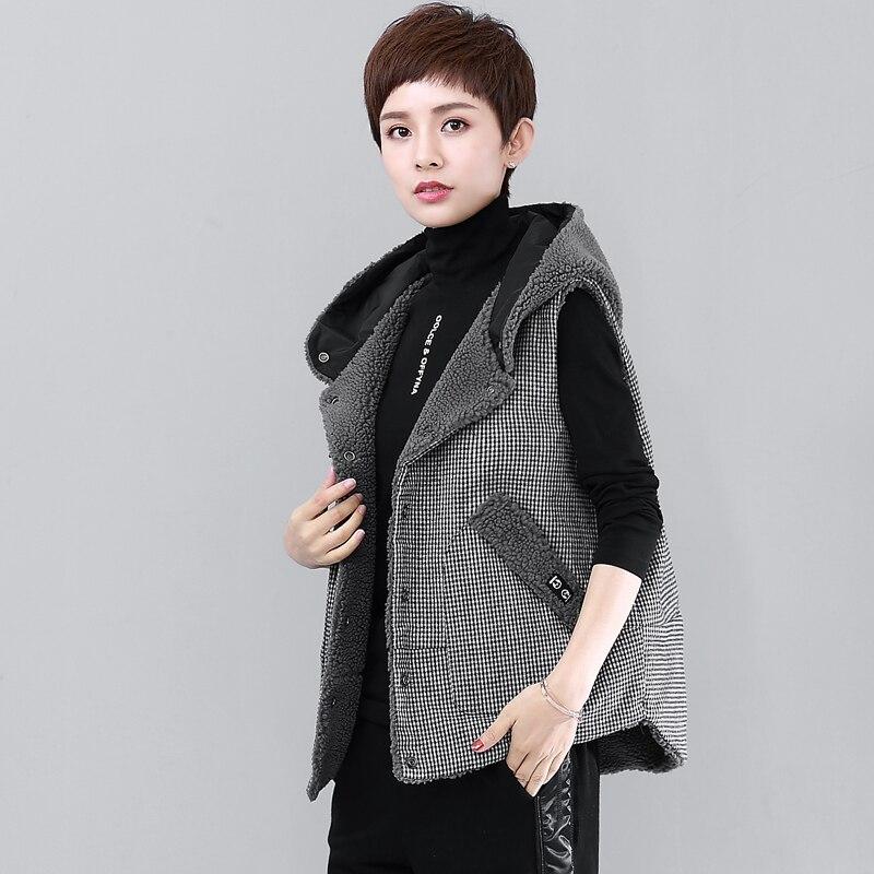 Starke Mit Kapuze Weste Frauen Zwei Seiten Tragbar Getäfelten Designs Solide Taschen Sleeveless Mantel 2 Farben Beiläufige Weste Neue Mode 2018 - 3
