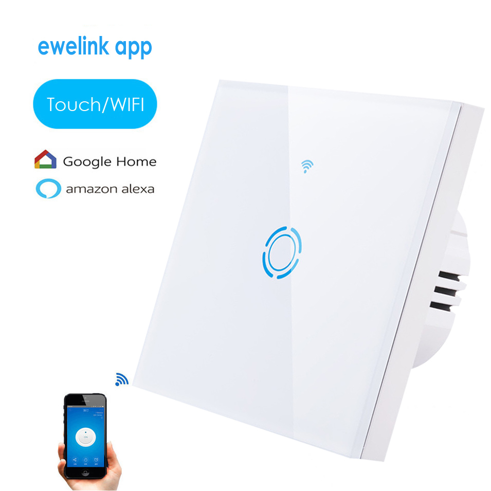 2018 ewelink app 1 Gang 1 way Wifi Control Switch via Android IOS,Wireless Control Light Touch Wall Switch, work with Alexa ewelink us type 1 gang 1 way wall light switch touch control panel wifi remote control via smart phone work with alexa ewelink