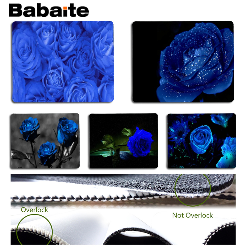 Babaite Top Quality Blue rose Computer Gaming Mousemats Size for 18x22cm 25x29cm Rubber Mousemats
