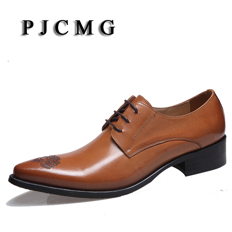 PJCMG High Quality Fashion Mens Wedding Black/Brown Lace-Up Pointed Toe Flats Business Genuine Leather Mens Dress Formal Shoes high quality carved black red mens dress oxfords lace up pointed toe genuine leather wedding mens business for work shoes