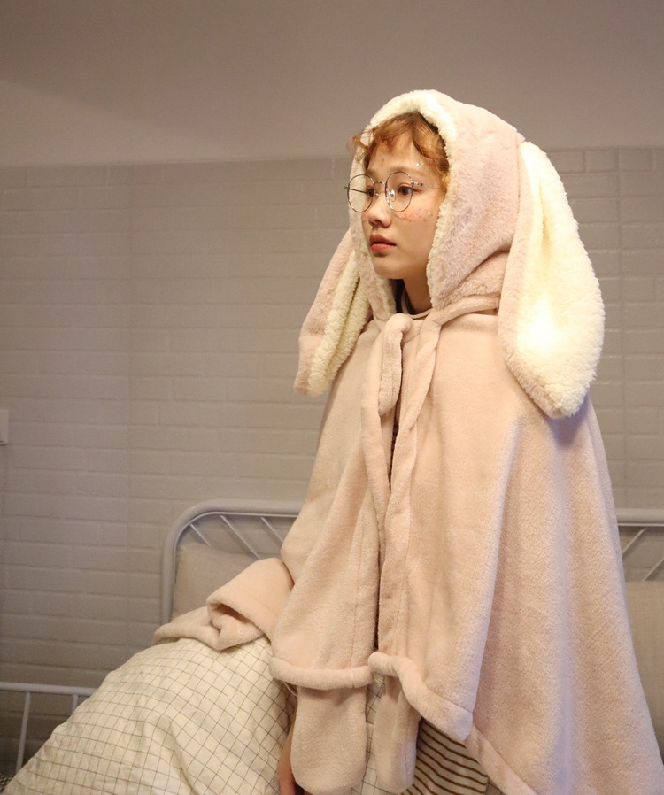 Cute Pink Comfy Blanket Sweatshirt Winter Warm Adults and Children Rabbit Ear Hooded Fleece Blanket Sleepwear Huge Bed Blankets 52