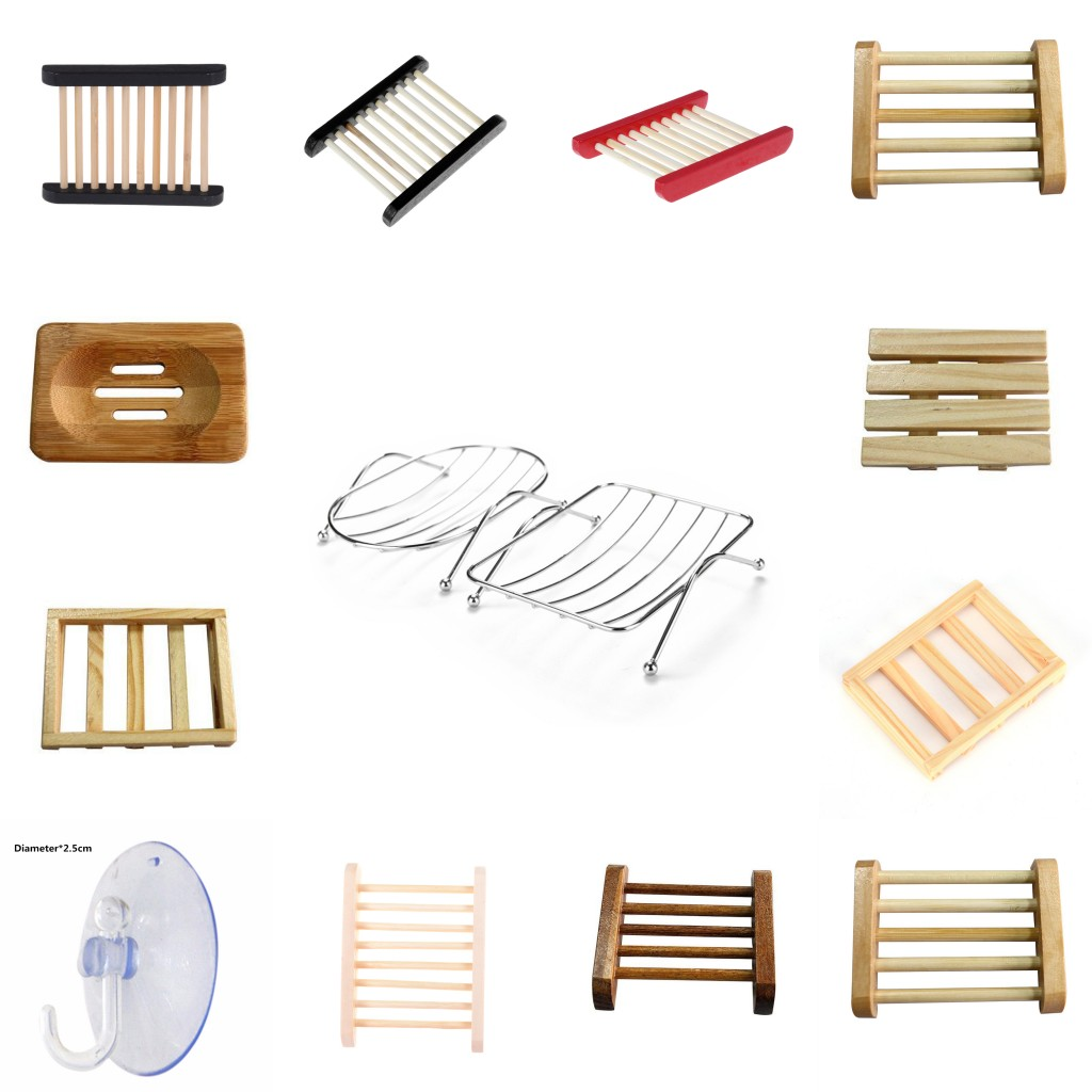 1PCS Soap Dishes Soap Holder Case Stainless Steel Wooden Bathroom Accessories Rust-resistant Saver Basket For Bathroom Shower