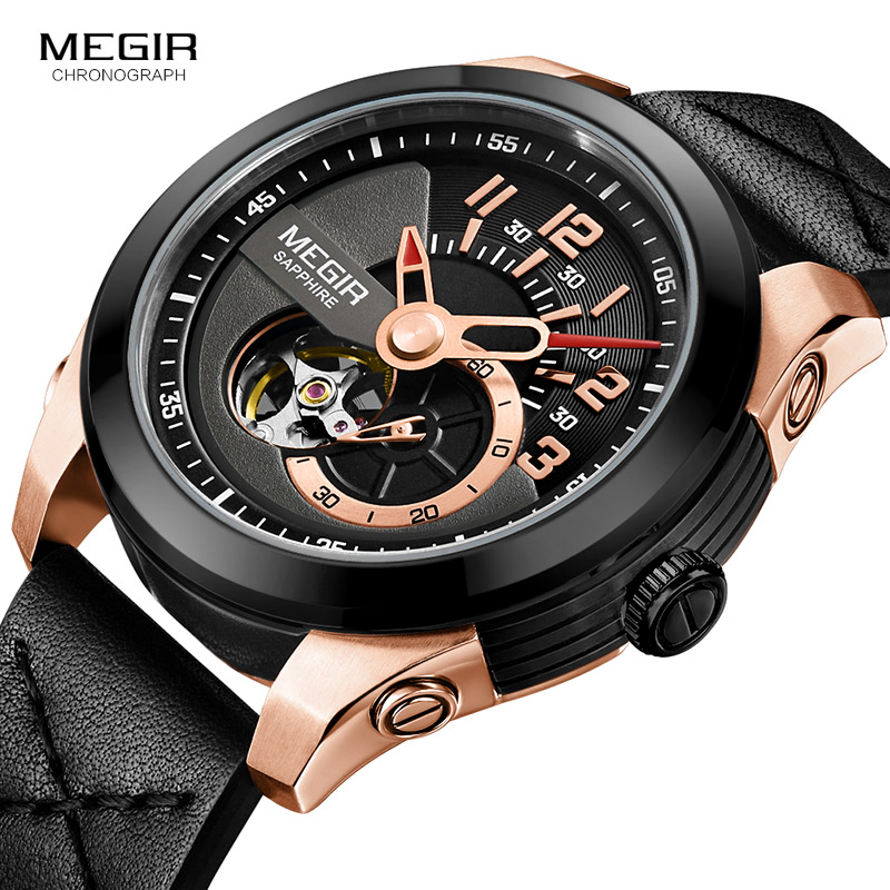 men s leather strap sports mechanical wrist watches clock army hand wind mechanical watch for man relogios masculino 62050gbk 1 Men's Rose Gold Mechanical Wrist Watches Clock Man Leather Army Sports Hands Wind Mechanical Watch Relogios Masculino 62050GREBK