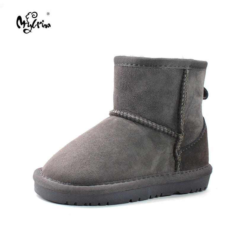 Top Quality 100% Genuine Sheepskin Leather Children Boots Boys Girls Brand Natural Fur Snow Boots Fashion Kids Ankle Boots