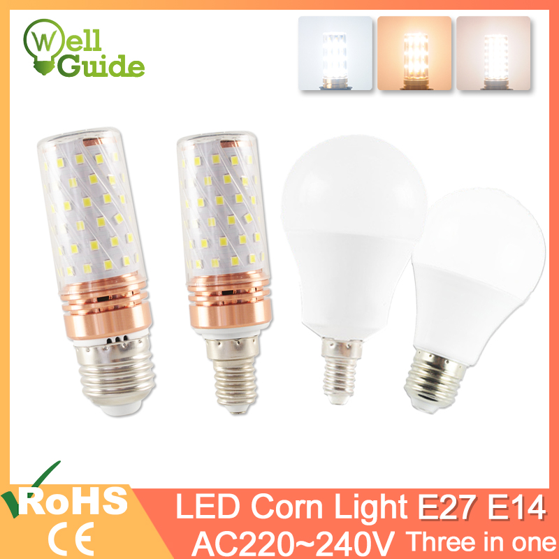 E27 LED Bulb E14 LED Lamp 3W 6W 9W 12W 16W SMD2835 AC 220V 240V Corn Bulb Led Lampada Bombilla Ampoule For Home Decoration