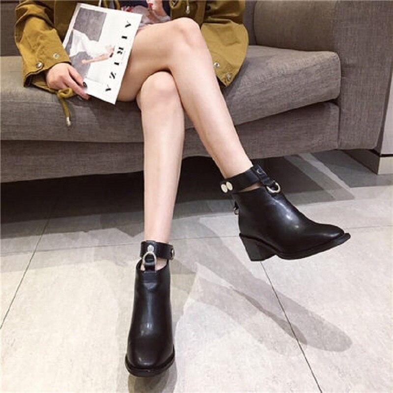 Et D'hiver Bottes Femmes Bottines Nouvelles 2018 Automne Haute Chaussures De Talon Épais Noir Avec Sexy Martin 0mNOwnv8