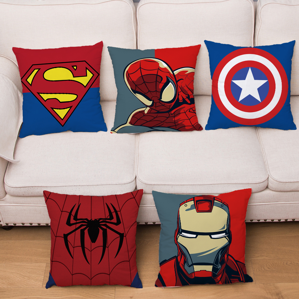 Super Hero Logo Soft Short Plush Cushion Cover Cartoon Marvel Iron Man Print Pillow Covers Sofa Home Decor Pillowcase 45*45cm