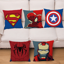 Super héroe logotipo corta suave funda de felpa para cojín de dibujos animados Marvel impresión del Iron Man Fundas de cojín para sofá decoración funda de almohada 45*45cm