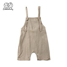 2018 UK Toddler Kids Boy Girl Bib Pants Romper Cotton Solid Backless Halter Outfits Rompers Fit For 0-3T(China)