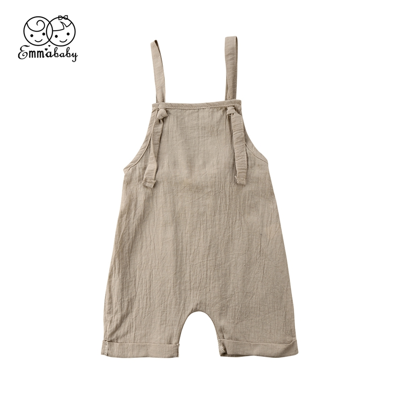 Toddler Kids Boy Girl Bib Pants Romper Cotton Solid Backless Halter Outfits Rompers Fit For 0-3T