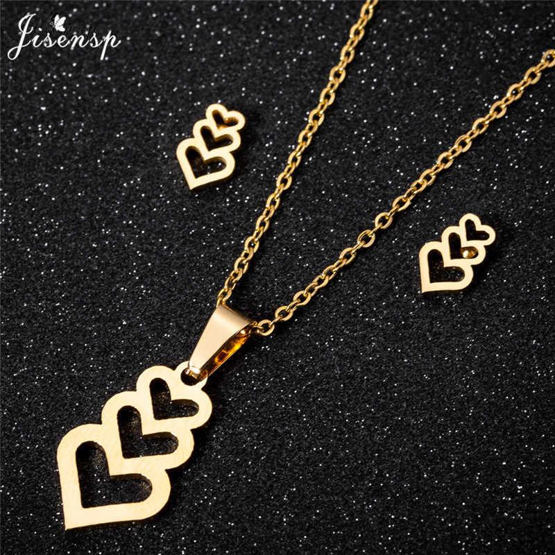 Jisensp Hollow naszyjnik w kształcie serca zestawy biżuterii dla kobiet ze stali nierdzewnej stadniny kolczyki miłość wisiorek Choker naszyjnik Accesorios Mujer