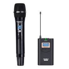 CoMica CVM-WM100H Профессиональный Беспроводной поручень микрофон 48 Каналы 100 м Диапазон работы микрофон для Камера смартфон IPhone samsung