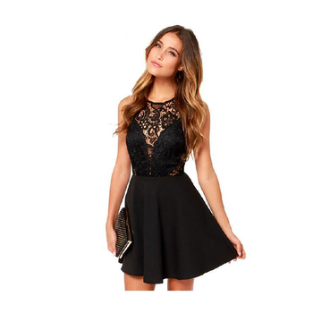 Women party dresses sexy night club hollow out female lace dresses summer black sleeveless patchwork backless dress for women