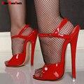 7 pulgadas de tacón alto sandalias Unisex Correa Atractiva Del Tobillo zapatos de tacón alto de las mujeres del verano sandalias de la manera vestidos de baile zapatos más tamaño