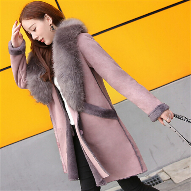 2018   Suede   Coat Women Large Fur Collar Faux   Leather   Jackets Lamb Wool Cuff Medium-Long Outerwear