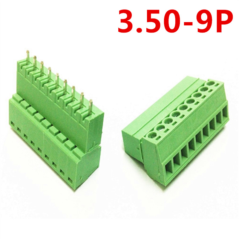 10sets 9 Pin PCB 15EDG-3.5mm spacing Straight Plug-in Type 300V 10A Screw Green Terminals Block Connector pin header and socket