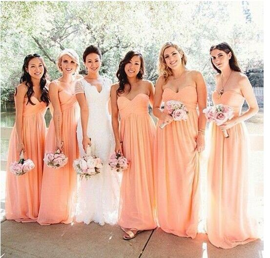 A Line Sweetheart Long Chiffon Peach   Bridesmaid     Dress   Maid of Honor   Dress   Vestido de madrinha