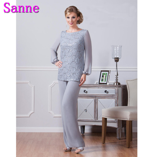 Elegant Pants Suits Lace Mother Groom Dress Floor Length Silver ...