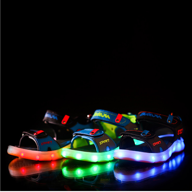 children shoes boys LED light sandals USB charge with lights kids shoes high density breathable deodorant Resistant to wear