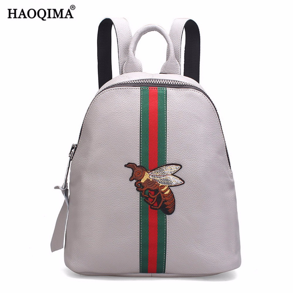 HAOQIMA Genuine Leather Real Cowhide Women Girl Ladies Small Backpack Shoulder Bag