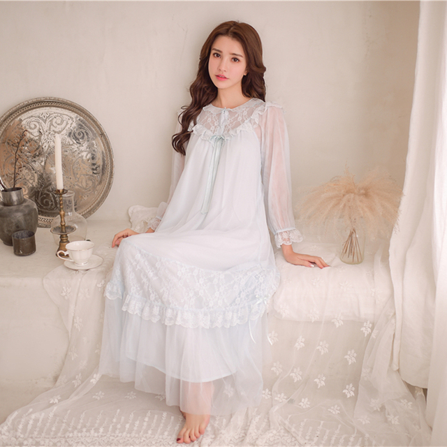 b2842c3139 Lace Lace Sleepwear Women Nightgown Dress Princess Nightgown Lace Sweety  Nightwear Home Dress