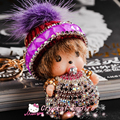 2017 Monchichi Keychain Crystal New Year Gift Dolls Christmas pom pom Woolen Hat Monchhchi Key Ring Women Bag Car Charm Pendants