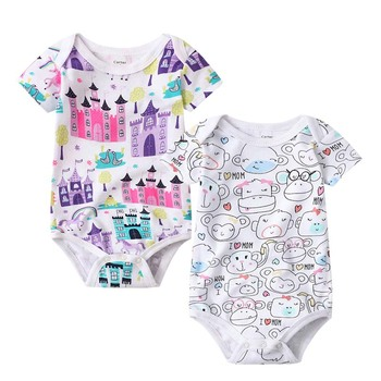 2 pcs set Tender Babies 2020 summer new 0-2 years old male and female baby crawling suit short-sleeved printed haber clothes tender babies baby girl clothing 3pcs set quilted jacquard hooded gilet and legging with rib cuff and soft printed floral t shir