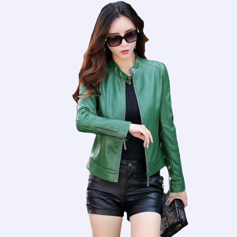 New 2019 Fashion Female Outerwear Lady   Leather   Coat Slim Black   Leather   Jacket Women Green Spring and Autumn Short Jackets