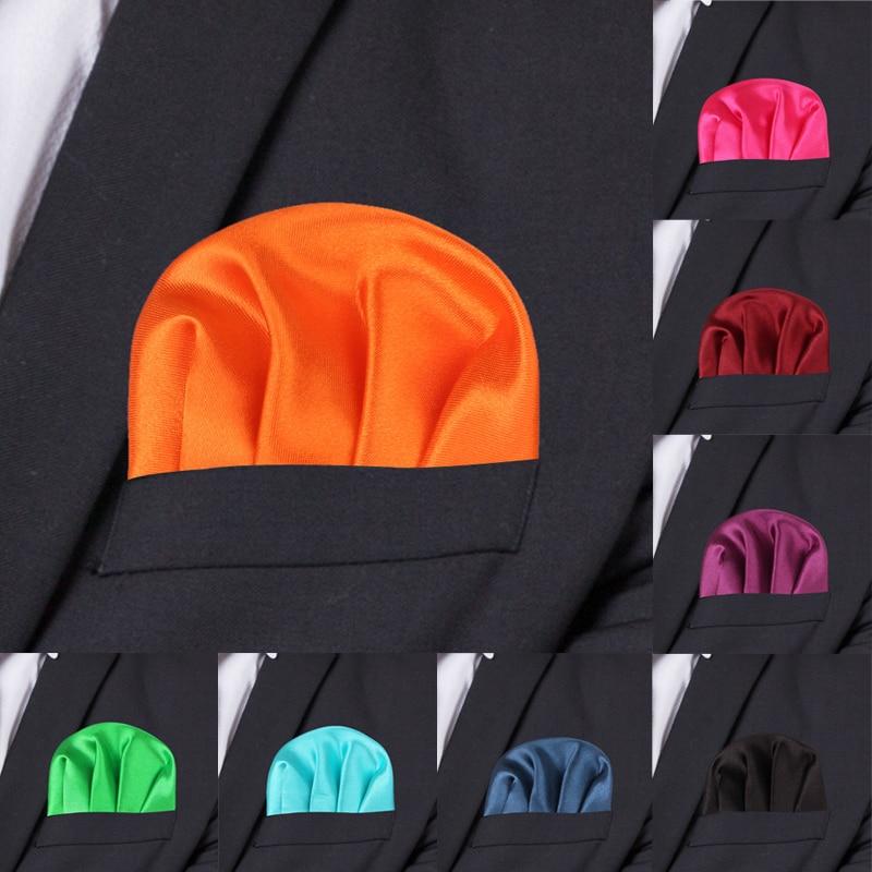 Fashion Solid Silk Satin Handkerchief Candy Color Suits Pocket Square For Men Business Chest Towel Hanky Suit Napkin Hankies