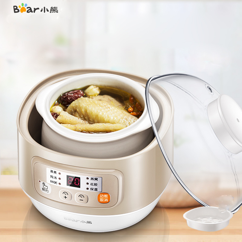 Bear DDZ-A08D1 Water Stew Electric Stew Pot Soup Porridge Pot Electric Cooker 0.8L Capacity Six Stewed Automatic Insulation cukyi automatic electric slow cookers purple sand household pot high quality steam stew ceramic pot 4l capacity