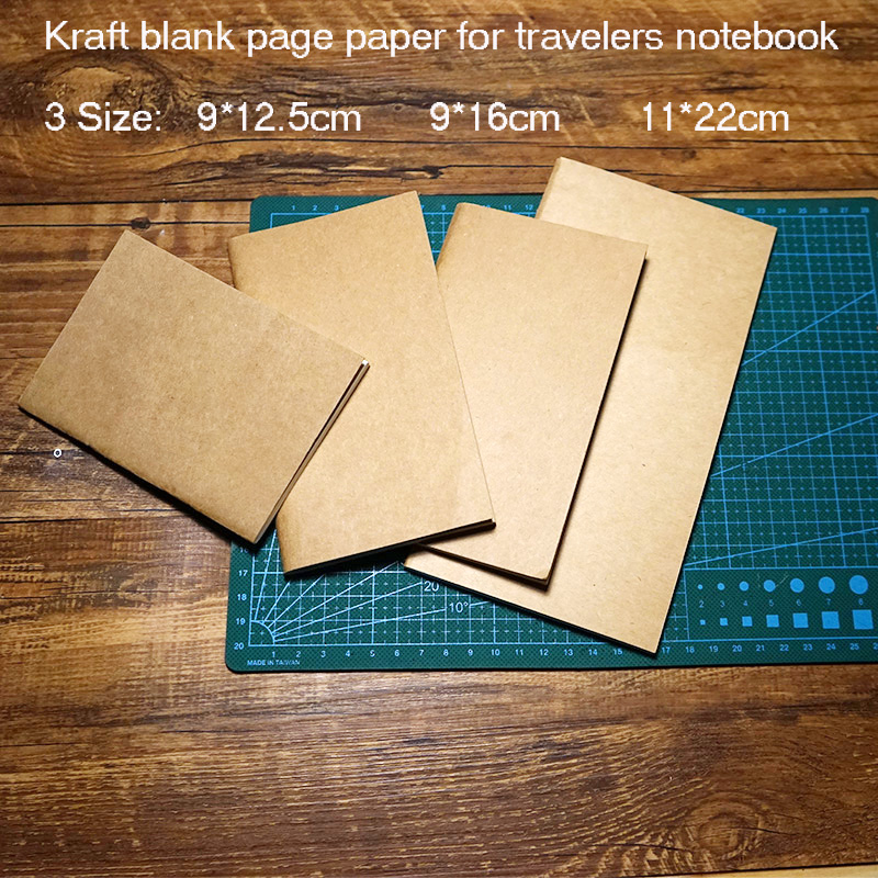 Kraft Blank Page Paper For Travelers Journal Notebook Replace Inside Filler Spiral Paper In Notebook 3 Type Size School Supplies