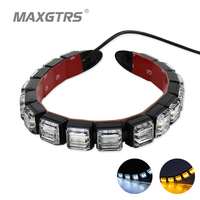 2x 16 LED 4014 LED DRL Fog Lights Flexible Silicone Daytime Running Lights Waterproof Super Bright