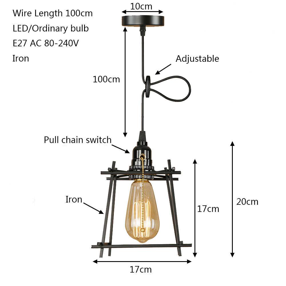 Винтаж Утюг черный свет подвеска светодио дный E27 промышленных дома деко подвесной светильник с переключателем для кафе спальня проход офис отель бар