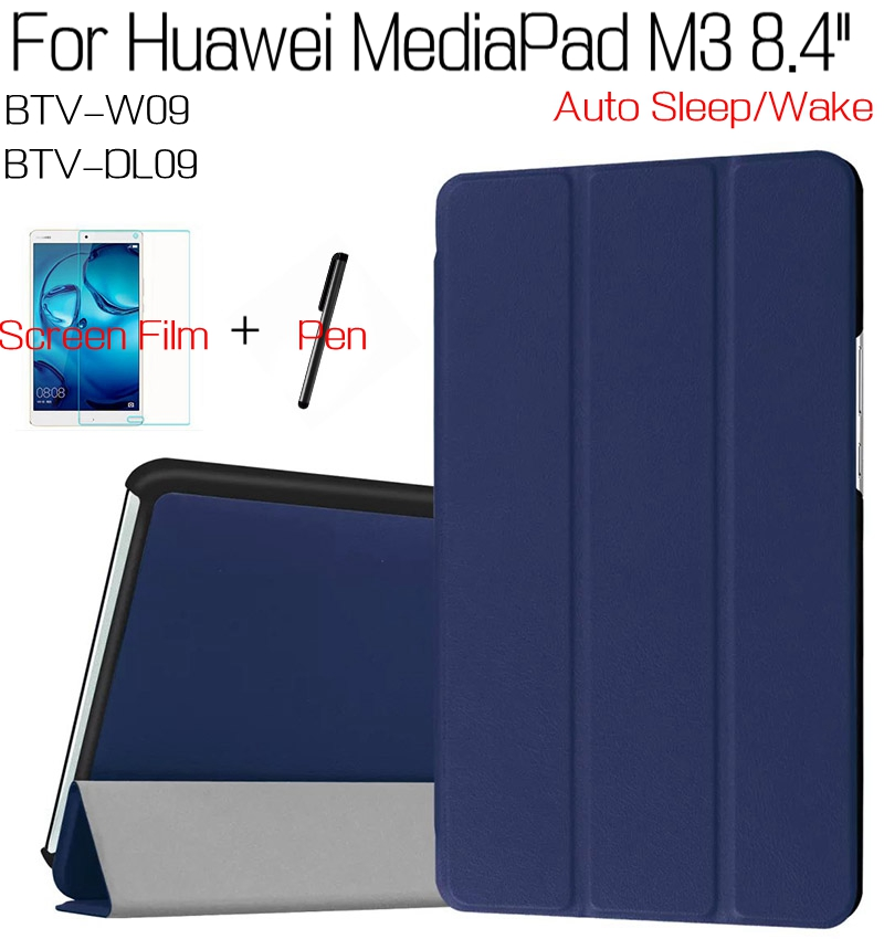 3 in 1 Stand Smart PU Leather Cover for Huawei MediaPad M3 8.4 BTV-W09 BTV-DL09 8.4 Tablet Case+Free Screen Protector+Touch Pen