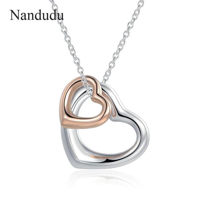 Nandudu Valentine Gift Double Heart Pendant Necklace For Valentine S